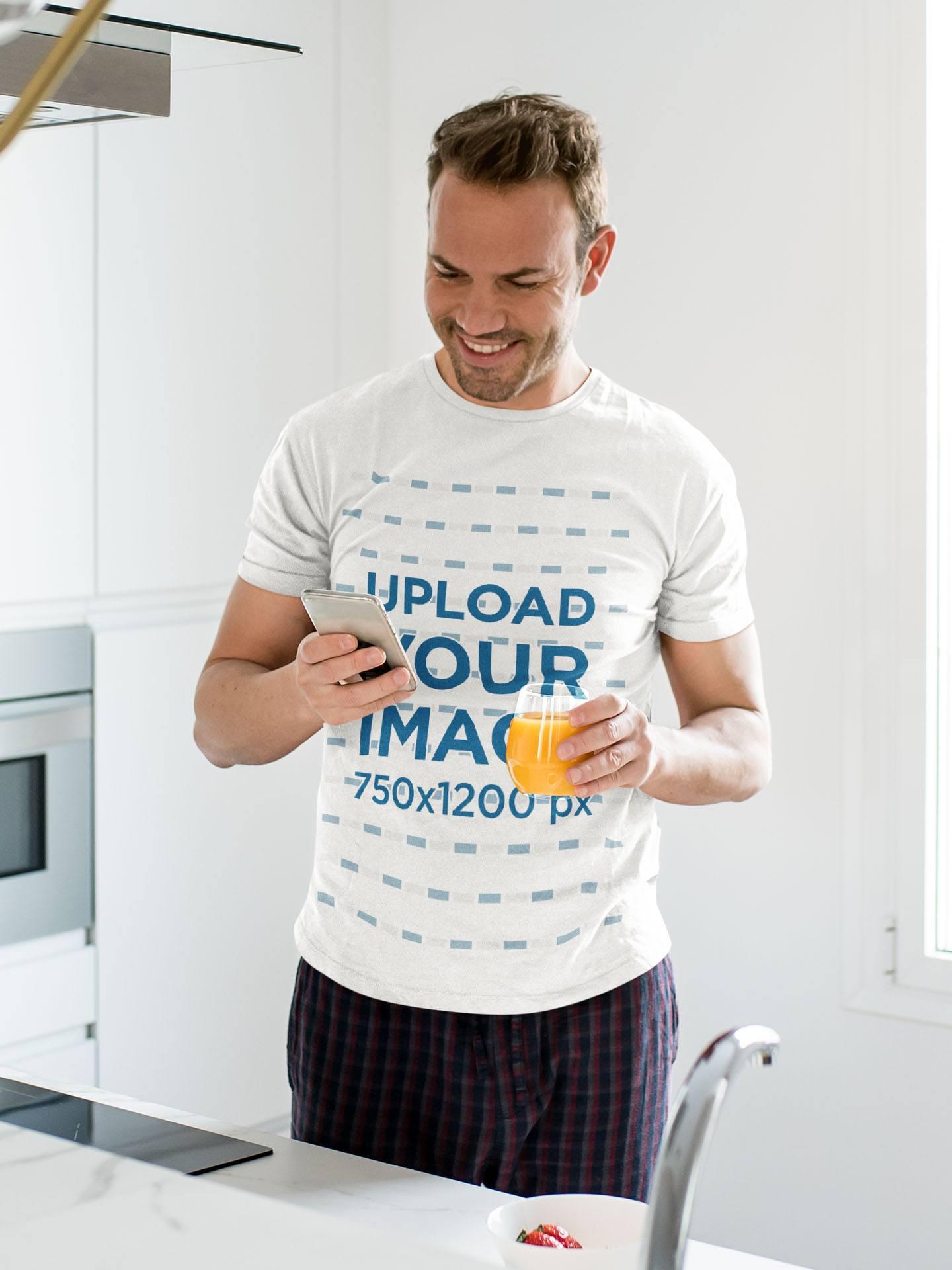 T-Shirt Mockup of a Man Drinking Orange Juice at Home 35199-r-el2