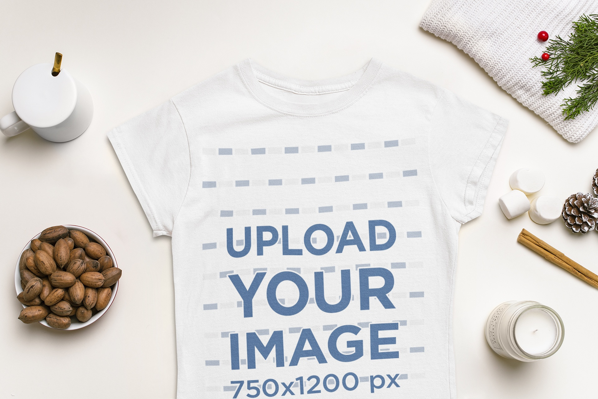 T-Shirt Mockup Featuring Typical Elements of Winter m151