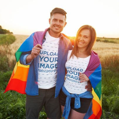 T-Shirt Mockup of a Man and a Woman Holding a Rainbow Flag 37592-r-el2