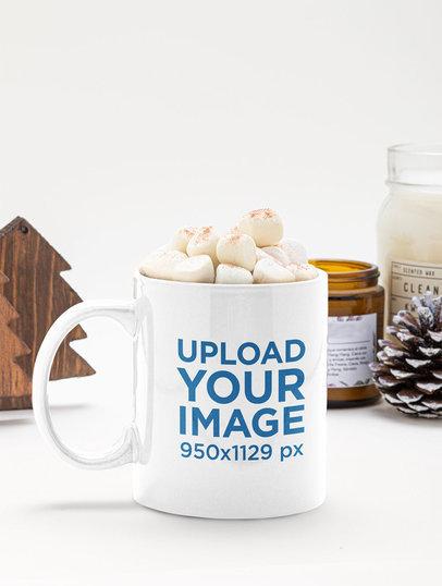 Mockup of an 11 oz Mug With Hot Cocoa and Marshmallows m147