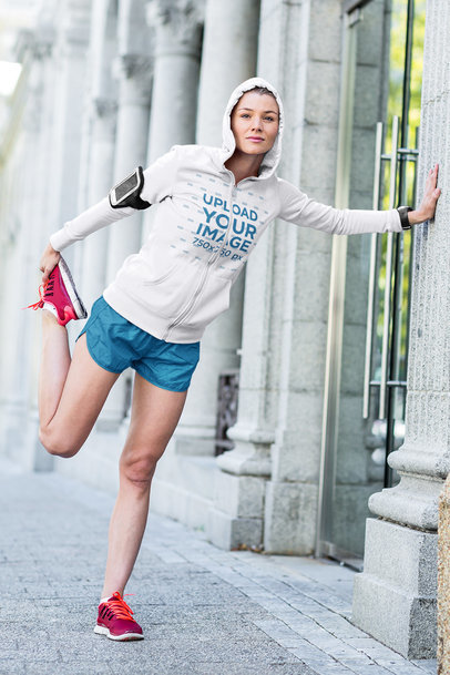 Full-Zip Hoodie Mockup Featuring a Woman Stretching Before a Run 40469-r-el2