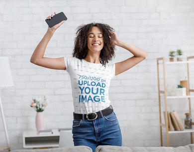 T-Shirt Mockup of a Woman Dancing at Home 43239-r-el2