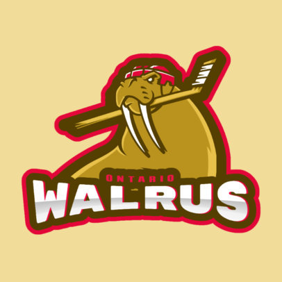 Animated Hockey Logo Creator with a Hockey Walrus Mascot Illustration 1560b