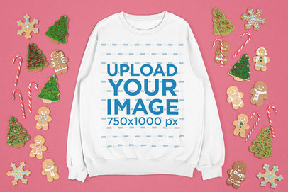 Sweatshirt Mockup Featuring Christmas Cookies m23