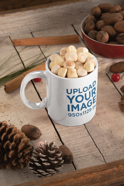 Winter-Themed Mug Mockup Featuring Cinnamon Sticks and Walnuts m164