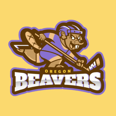 Hockey Logo Design Maker with Hockey Beaver Mascot Clipart 1560d