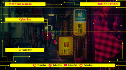 Cyberpunk 2077-Inspired Twitch Overlay Maker Featuring a Webcam Frame for Live Reactions 3059b