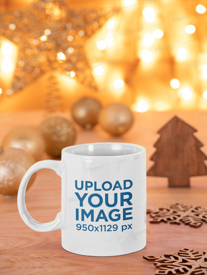 Mockup of an 11 oz Mug Placed Against Christmas Lights m48