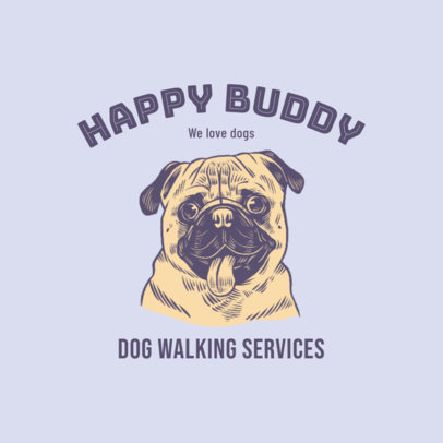 Dog Walking Services Company Logo Maker with a Pug Graphic 3776d