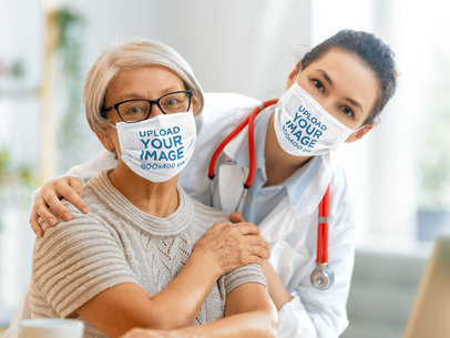 Face Mask Mockup of a Senior Woman with Her Doctor 44271-r-el2