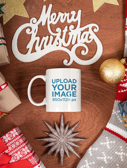 11 oz Coffee Mug Mockup Featuring a Merry Christmas Sign m35