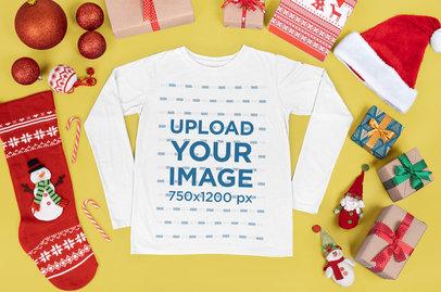 Long-Sleeve Tee Mockup Featuring Christmas Presents m15