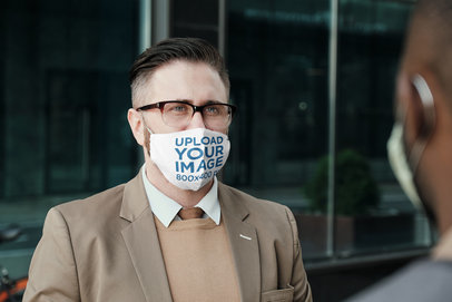Mockup of a Serious Businessman Wearing a Sublimated Face Mask 44173-r-el2