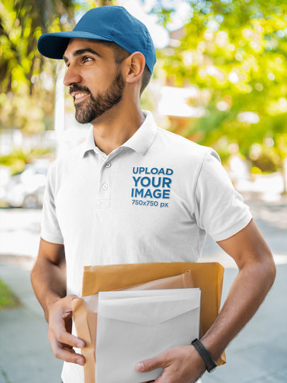 Polo Shirt Mockup Featuring a Delivery Man Standing on the Street 44188-r-el2