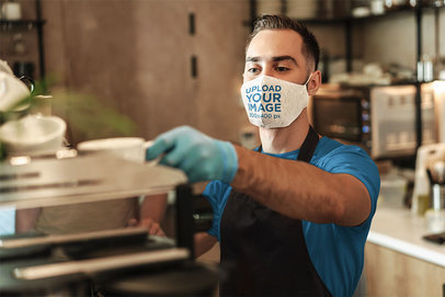 Mockup of a Barista Wearing a Sublimated Face Mask at a Coffee Shop 44071-r-el2