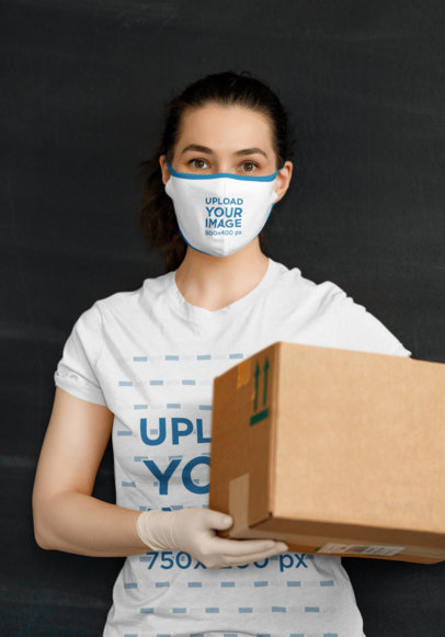 T-Shirt and Face Mask Mockup of a Woman Delivering a Package 44079-r-el2