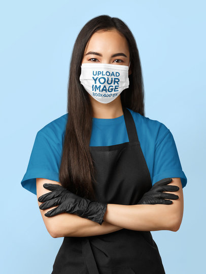 Face Mask Mockup of a Long-Haired Woman Posing With Her Arms Crossed 44180-r-el2