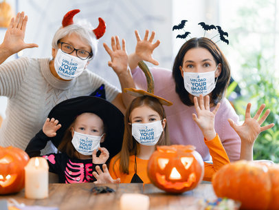 Face Mask Mockup of a Family Celebrating Halloween 44282-r-el2