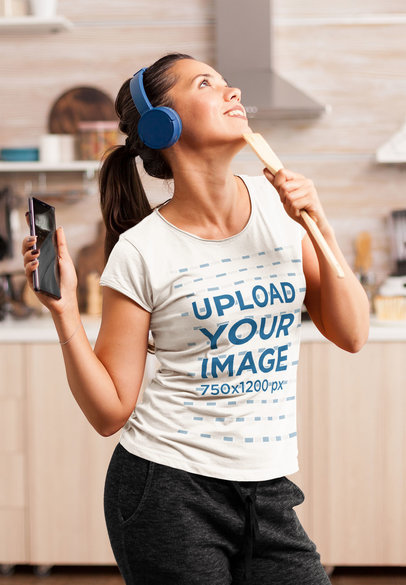 T-Shirt Mockup of a Woman Dancing in her Kitchen 43012-r-el2