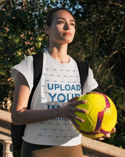 T-Shirt Mockup Featuring a Female Soccer Player 43874-r-el2