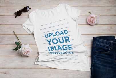 Mockup Featuring a T-Shirt and Some Roses on a Wooden Surface 41373-r-el2