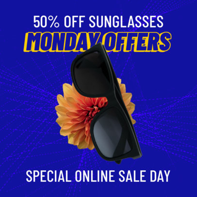 Instagram Post Template for a Cyber Monday Discount on Sunglasses 3100a