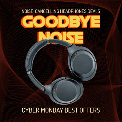 Instagram Post Maker Featuring a Cyber Monday Offer on Headphones 3100e