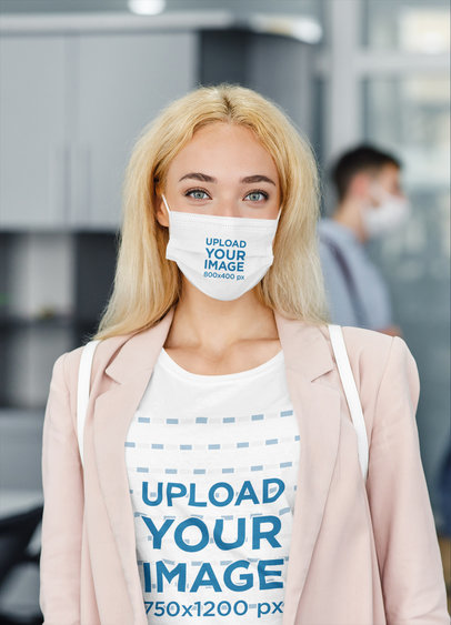 T-Shirt Mockup Featuring a Businesswoman Wearing a Sublimated Face Mask 44061-r-el2