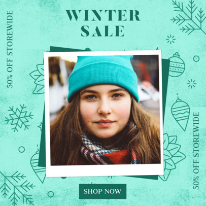 Instagram Post Maker for a Winter Sale Featuring Festive Graphics 3086a