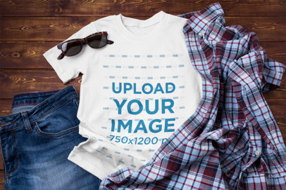 T-Shirt Mockup Featuring an Outfit with Flannel on a Wooden Floor 41371-r-el2