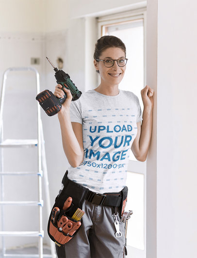 Heather T-Shirt Mockup of a Woman Holding a Drill 42907-r-el2