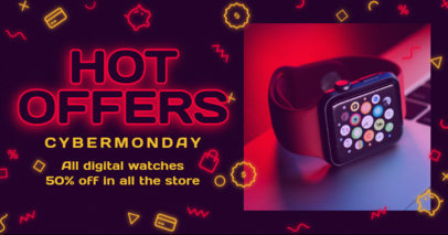 Facebook Post Template to Promote Hot Sales During Cyber Monday 3102e