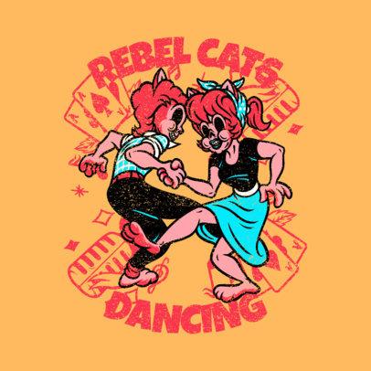 Rockabilly Logo Generator Featuring Two Dancing Cats 3799b