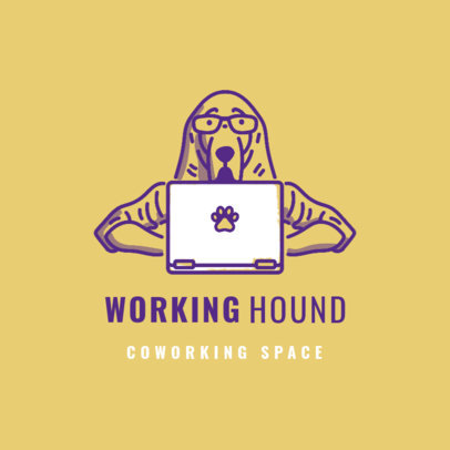 Online Logo Maker for a Coworking Space Featuring a Hound Working on a Computer 3787e