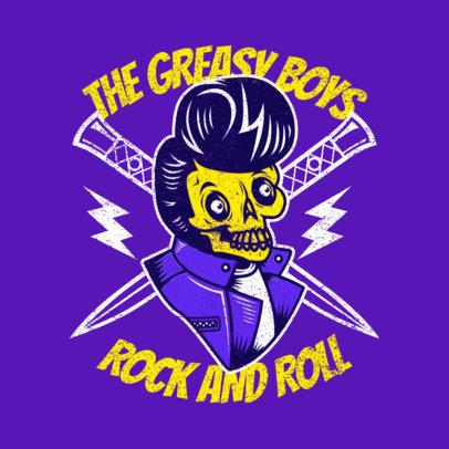 Illustrated Logo Maker Featuring a Rockabilly Skeleton Cartoon 3799j