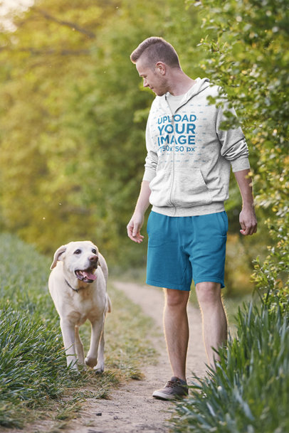Full-Zip Hoodie Mockup Featuring a Man With His Dog 43911-r-el2