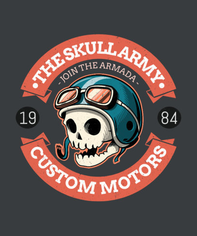 T-Shirt Design Template for Bikers Featuring Illustrated Badges 3132