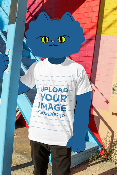 Mockup of an Illustrated Cat Wearing a T-Shirt on the Street 3136-el1