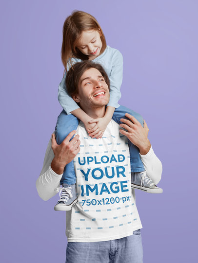 Long Sleeve Tee Mockup of a Man with His Little Daughter in a Studio 44439-r-el2