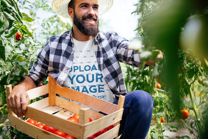 T-Shirt Mockup Featuring a Bearded Farmer Collecting Tomatoes 41323-r-el2