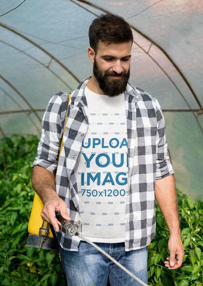 T-Shirt Mockup Featuring a Farmer in a Greenhouse 44006-r-el2
