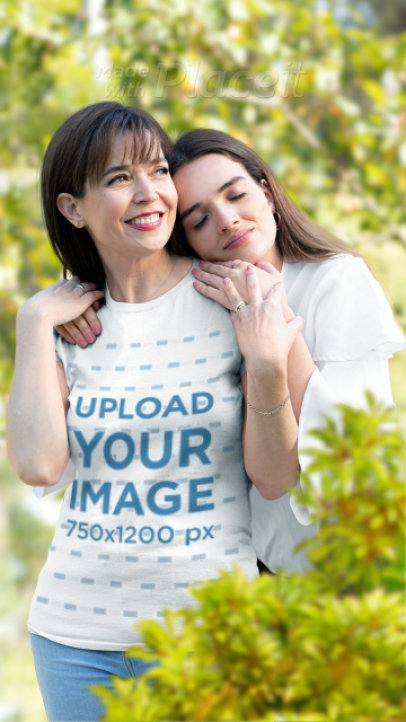 Parallax T-Shirt Video of a Woman Smiling While Her Daughter Hugs Her 2502