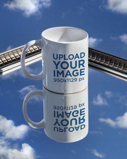 11 oz Coffee Mug Mockup Featuring a Surface Reflecting a Clear Sky m589