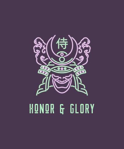 Neon T-Shirt Design Maker Featuring a Japanese Warrior Mask 3131c
