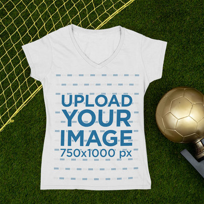 Mockup of a Women's T-Shirt Featuring a Soccer Championship Trophy m394