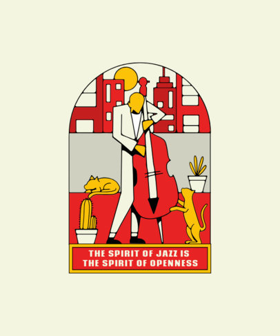 T-Shirt Design Template Featuring an Illustration of a Jazz Player 3128e