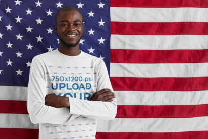 Long-Sleeve Tee Mockup of a Man Posing with an American Flag 44291-r-el2