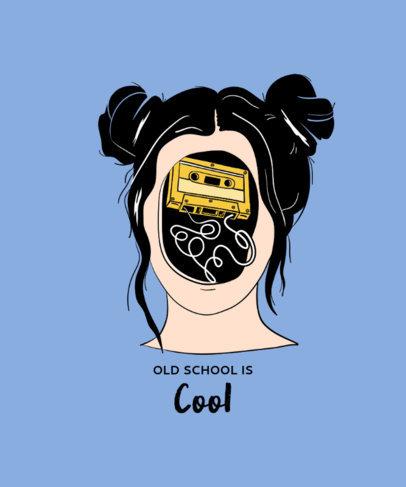 Weird T-Shirt Design Template Featuring a Woman and a Cassette Tape  3130d