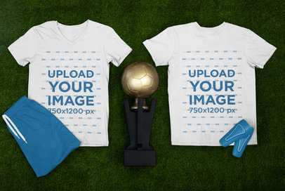 Mockup Featuring Two T-Shirts for a Soccer Player m375