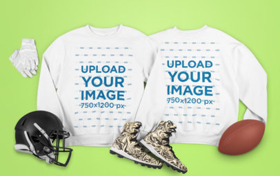 Mockup Featuring Both Sides of a Sweatshirt and Football Equipment m335